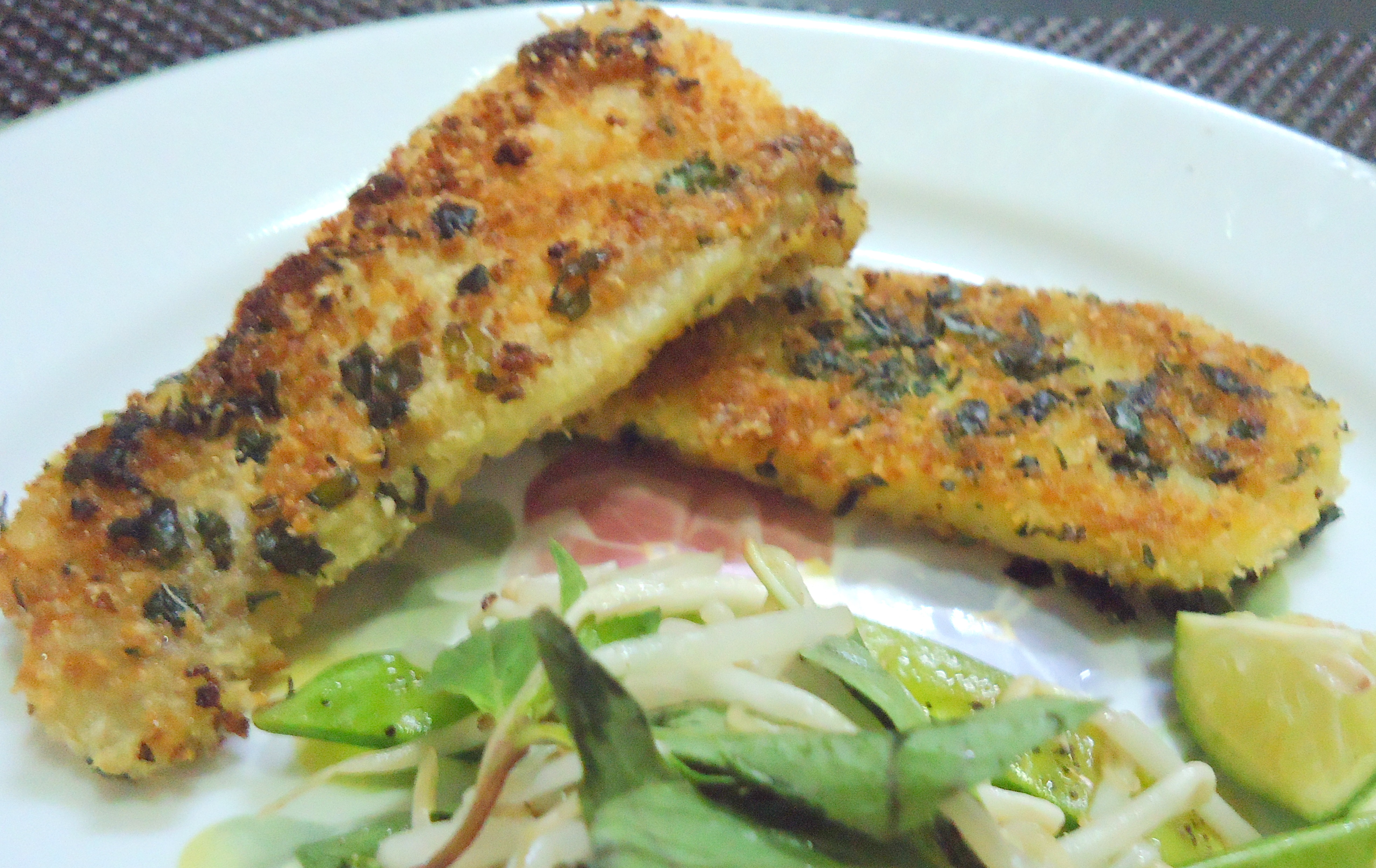 Basil & Coconut Crusted Fish with Tom Yum Sauce & Crunchy Mange Tout ...